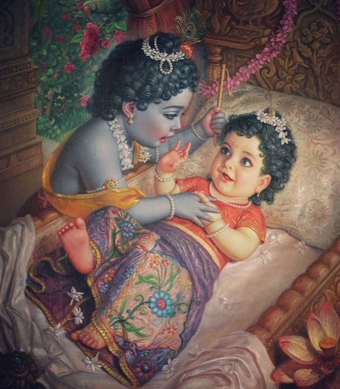 Adorable baby Radha opening her eyes for the first time to see baby Krishna <3 <3 All time favorite!!