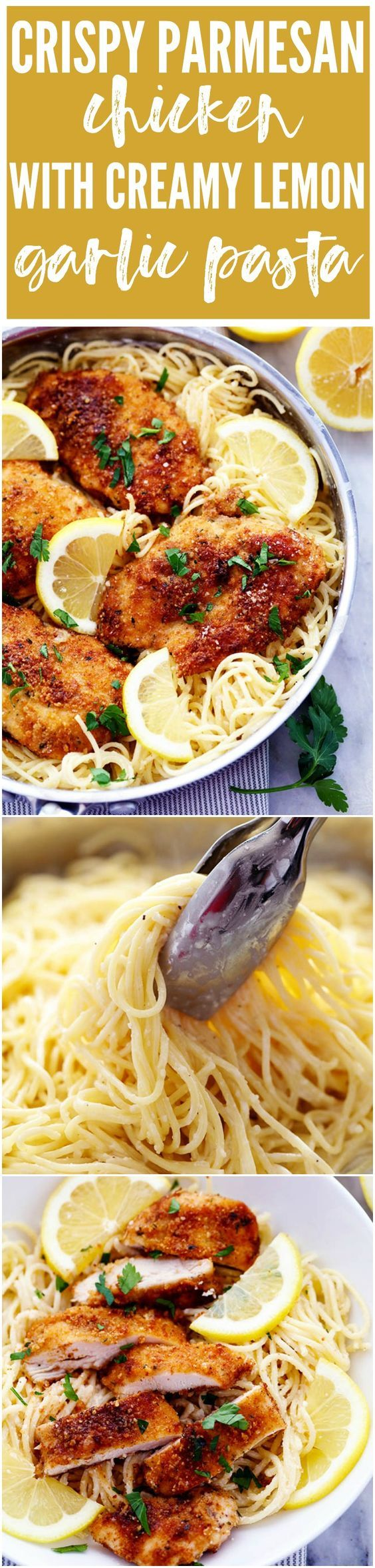 Crispy, tender and juicy parmesan crusted chicken over the most incredible creamy lemon garlic pasta! This is a must make meal!: