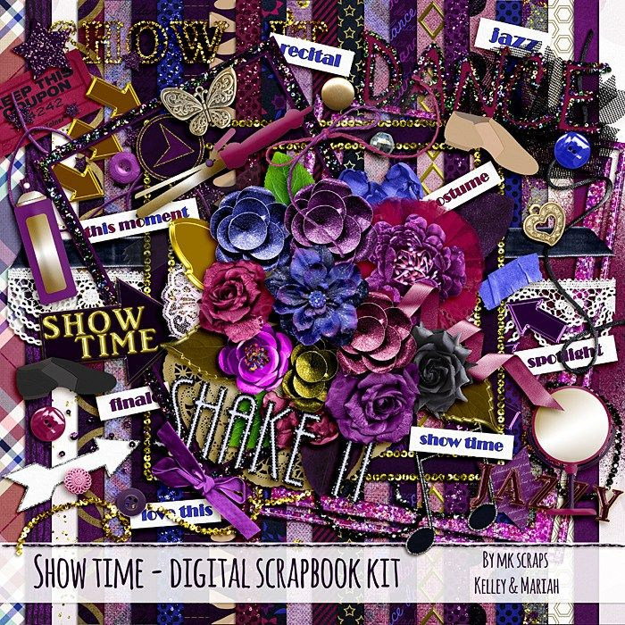 Show Time Dance Recital Digital Scrapbooking Kit by MK ScrapStudio - Kelley Hays