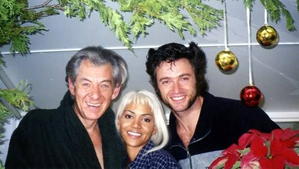"""Merry Christmas from the Xmen cast members-Ian McKellen,Halle Berry and our darling,Hugh Jackman. """"Magneto"""" """"Storm"""" and the """"Wolverine""""."""