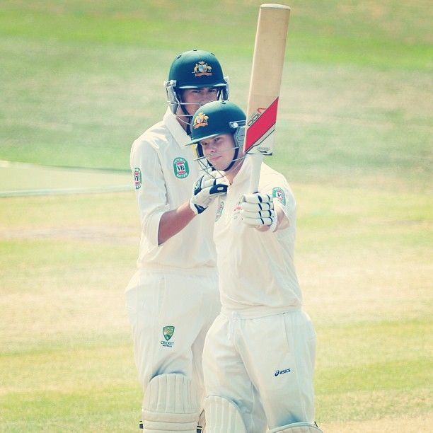 Steve Smith raises his bat after reaching his 7th first-class century.....