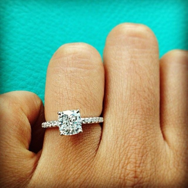 Sparkling cushion cut diamond ring from @ratularatula | Pave Engagement Ring is style # 17158W14 on JamesAllen.com. Click to see this ring in 360° HD.