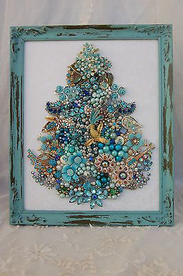 vintage jewelry framed Christmas tree * all aqua jewels, gems & glam