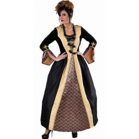Déguisement Marquise baroque noir or femme luxe