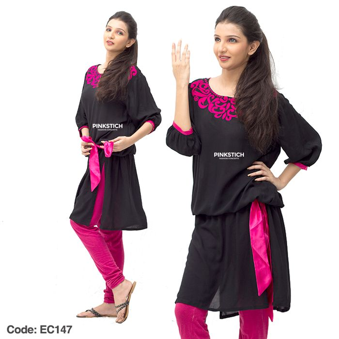 Pinkstich Kurti And Tights For Girls 2014-15 | Colorful And Stylish Eid Dresses For Girls