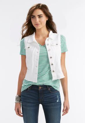 Cato Fashions Frayed White Denim Vest #CatoFashions