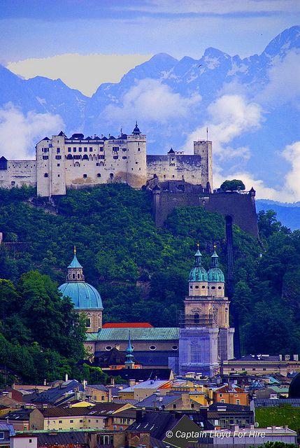 Hohensalzburg Fortress on Festungsberg Hill.  The Castle overlooking Salzburg, Austria