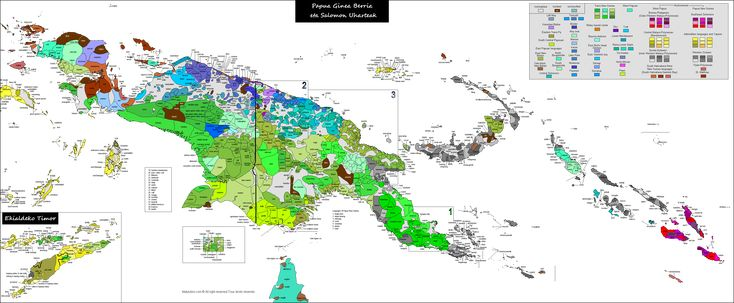 Linguistic map of New Guinea, Timor and Solomon islands