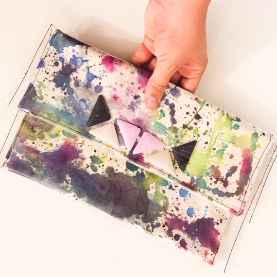 Large Clutch hand dyed organic cotton encased in by RowdyDesign
