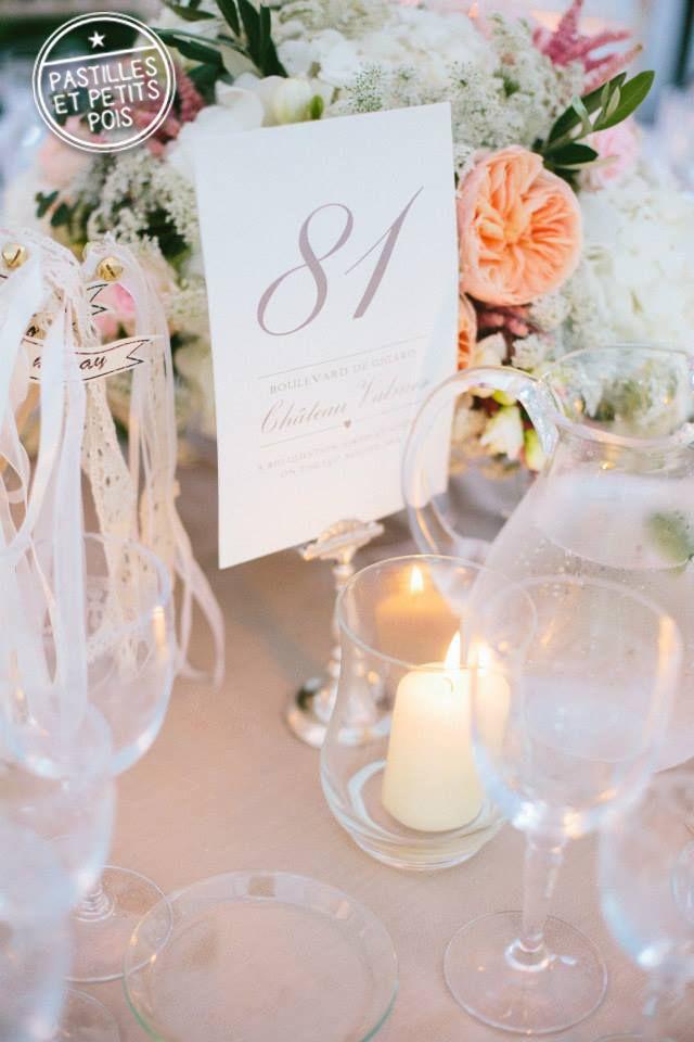 Idée sympa, le nom de table est un numéro lié à une adresse chère aux mariés !  - Nom de table by Pastilles et Petits Pois -
