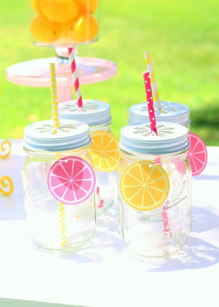 Cute drinks from this Sunshine and Lemonade themed birthday party with So Many Adorable Ideas via Kara's Party Ideas! Full of decorating tips, ideas, recipes, favors, cakes, games, and MORE! KarasPartyIdeas.com #sunshineparty #sunshine #lemonadestand #sunparty #partydesigner #partyideas #partydecor (15)