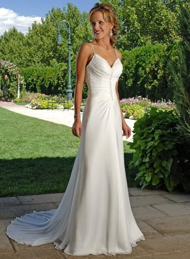 Perfect Simple A line Sweep Train Chiffon Wedding Dress for Older Brides Over
