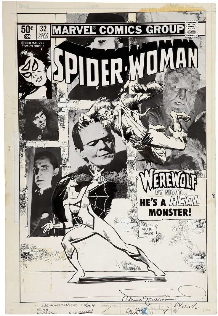Original cover art by Frank Miller and Klaus Janson from Spider-Woman #32, published by Marvel, November 1980.