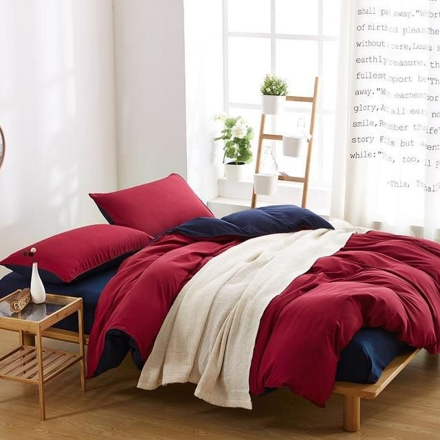 Solid Color 4pcs Bedding Set Queen King Twin size Bed Linen With Bedclothes Duvet Cover Bed Sheet Set Bed Cover Wedding Bedding