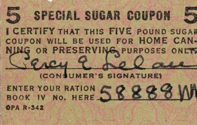 U.S.: Special sugar ration coupon for home canning, 1942