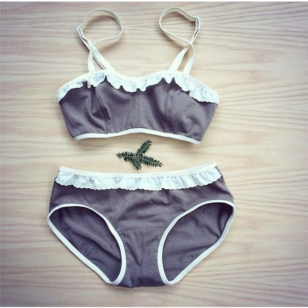 Organic Cotton Bra and Panties Set Olive Cream Lace or More Colors (145 AUD) ❤ liked on Polyvore featuring intimates, panties, black, lingerie, women's clothing, high waisted lace panties, high-waisted lingerie, bralette bikini, boy shorts panties and lace boyshort panties
