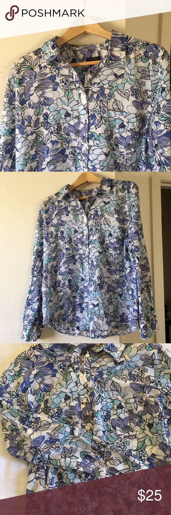 "Ann Taylor Floral Button-down This pretty floral shirt will be great for summer!  100% cotton, nice and lightweight.  The floral pattern is in lovely shades of blue and teal on a white background, and there is a single breast pocket on the left side.  Roll-tab sleeves with a button for a more casual look.  23"" pit to pit, 26"" shoulder to hem.  EUC, no flaws. Ann Taylor Tops Button Down Shirts"
