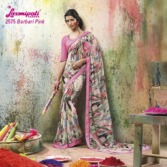 LP_2575 - LIGHT MATCHING MULTI COLORED WITH BEAUTIFUL ABSTRACT DESIGN ON GEORGETTE