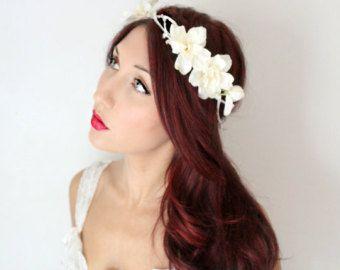 Цветочная корона Веночек с цветами Свадебные от ArsiArt на Etsy