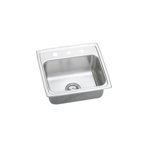 Elkay LRAD191955 Gourmet 19-1/2 Single Basin 18-Gauge Stainless Steel Kitchen Sink for Drop In Installations with SoundGuard (