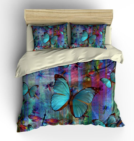 Boho Chic Dragonfly Butterfly Bedding Duvet Cover by FolkandFunky