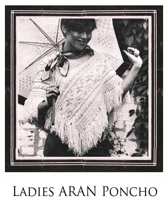 PDF Vintage Ladies Poncho Knitting Pattern ARAN 1970s