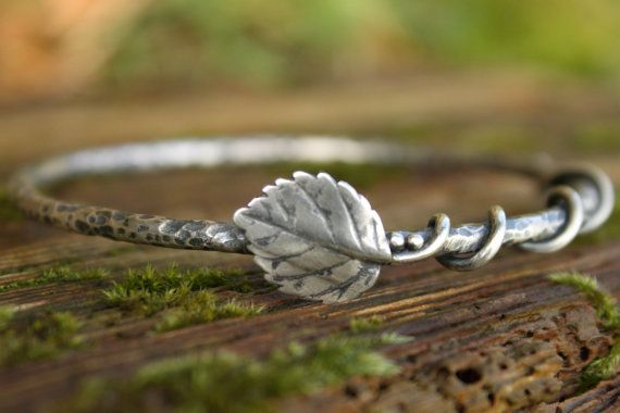 Sterling silver elm leaf vine bangle oxidised and by Dreamspell