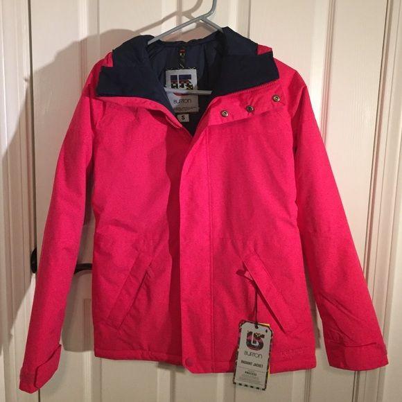 Pink BURTON ski coat. BRAND NEW! Brand new Burton ski jacket. It has a powder skirt, pockets, slit for earbuds, under arm zippers, bungee cord hood. Burton Jackets & Coats Puffers