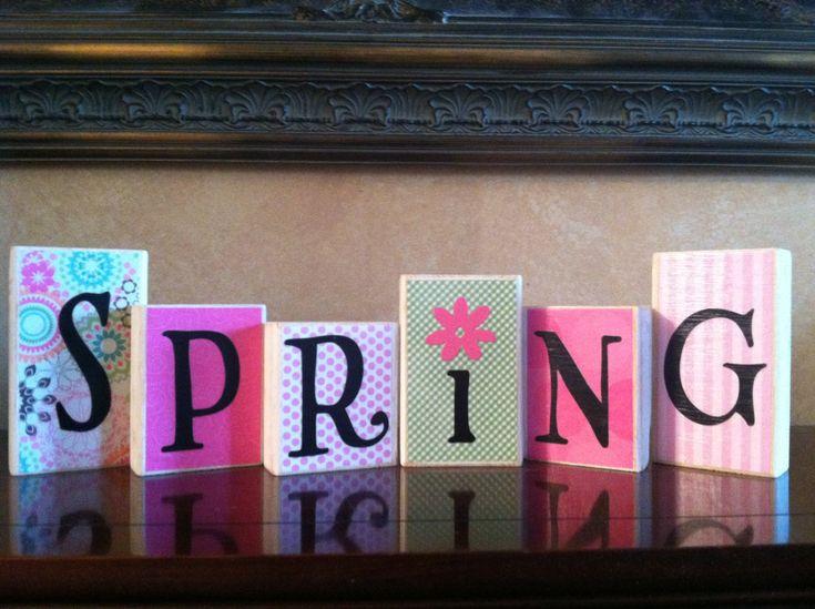 Wood Spring blocks - Seasonal - Spring Decor - Easter Blocks - Easter Decor - Home Decor. $21.00, via Etsy.