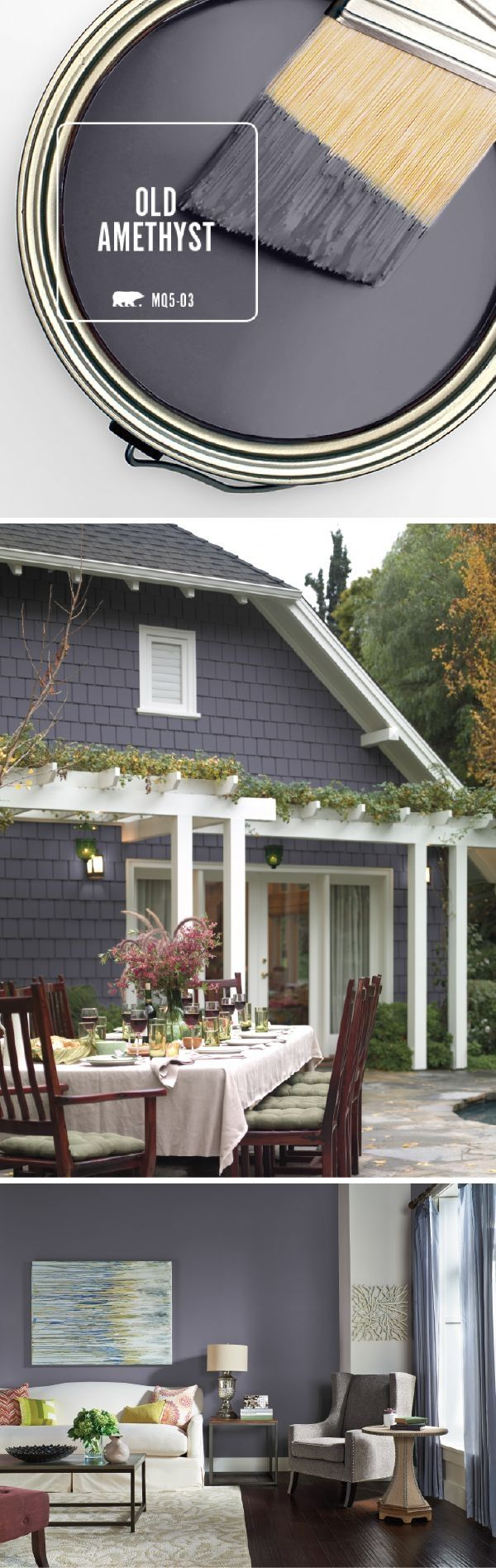 Bring the exterior of your home into the 21st century with BEHR's Color of the Month: Old Amethyst. This modern paint color shines when paired with bright white trim and a natural stone pathway. Use the deep blue and purple undertones in this dark gray hue to enhance the view of your outdoor landscaping. by suzette