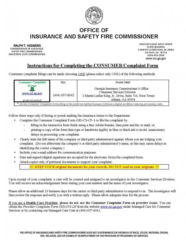 Insurance Commissioner Complaint GA (Dengan gambar)