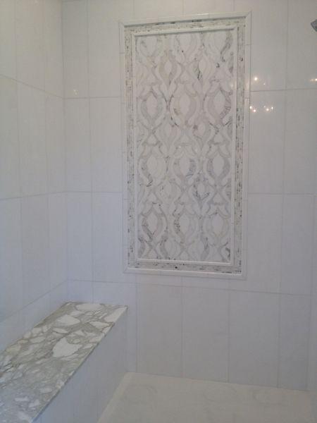 Artistic Tile Damask Blanc Tile Insert Kitchen