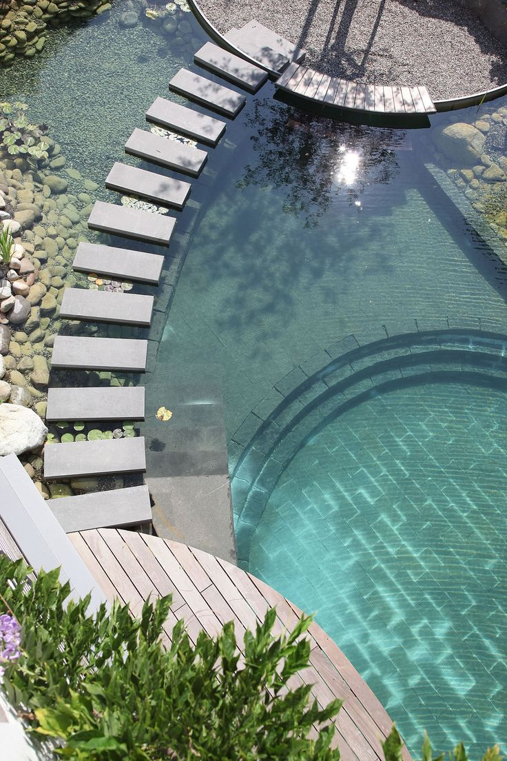 Great natural pool design! The stepping stones that separate the swimming environment from the plant environment.