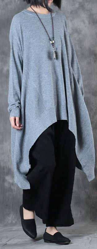 design gray woolen blended sweater  o neck casual knit dress