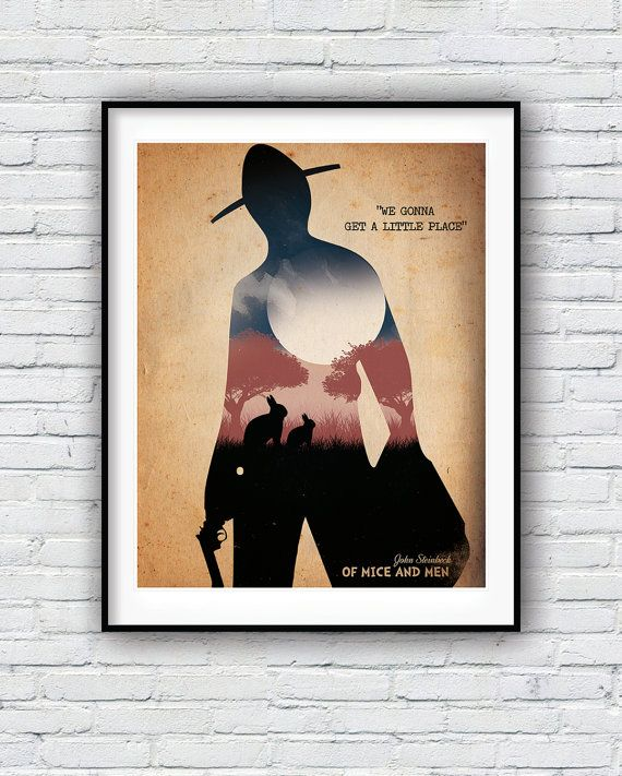 Of Mice and Men, Quote Poster, John Steinbeck, Movie poster, Minimalist print, Wall decor, American literature