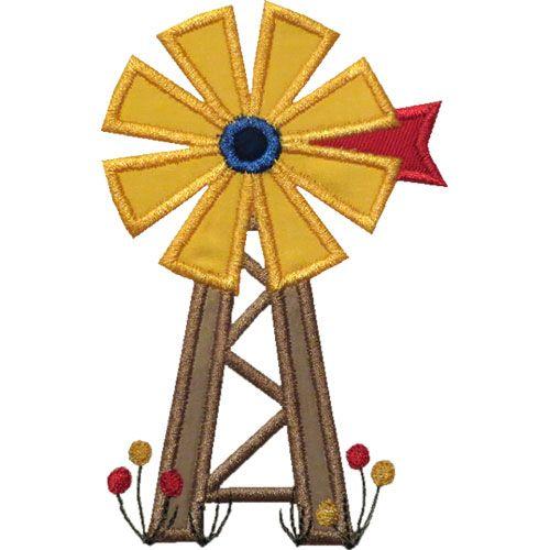 Old Farm Windmill Applique by HappyApplique.com