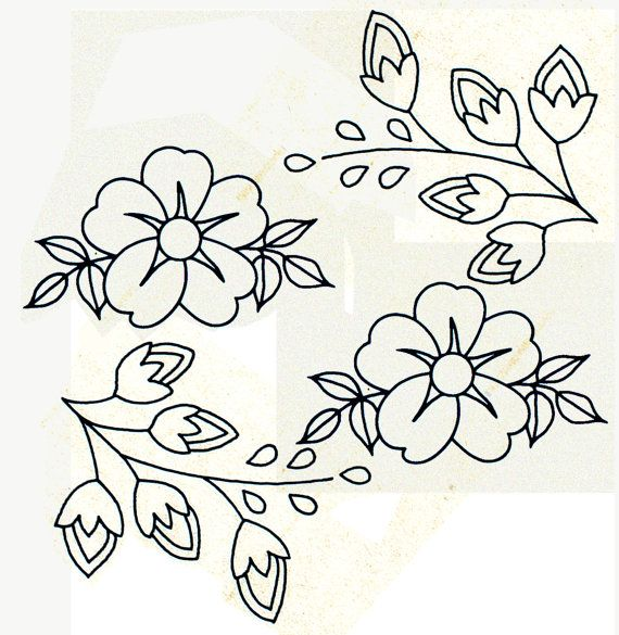 Genuine Vintage 1950s 'Flowers & Sprigs' Collection Iron On Transfer Sewing Pattern, Unused, Victorian, Retrox