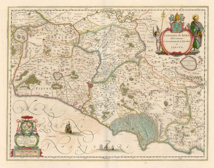 """Carta """"Campagna di Roma, olim Latium: Patrimonio Di S. Pietro et Sabina"""" - Amsterdam 1640 ca   P.S.:   Coast line from Civita Vecchia to Gaeta"""