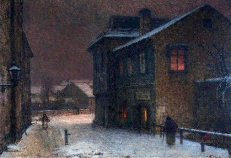 Jakub Schikaneder - Ulice ve sněhu / A Street Covered by Snow