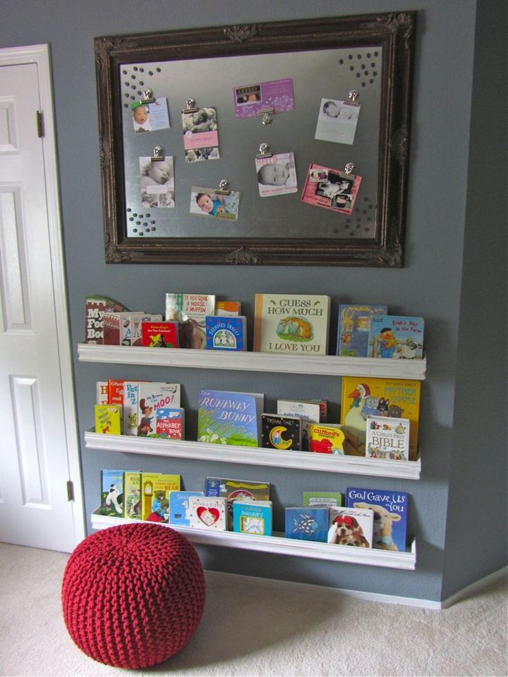 Framed sheet metal magnetic boards + book shelves