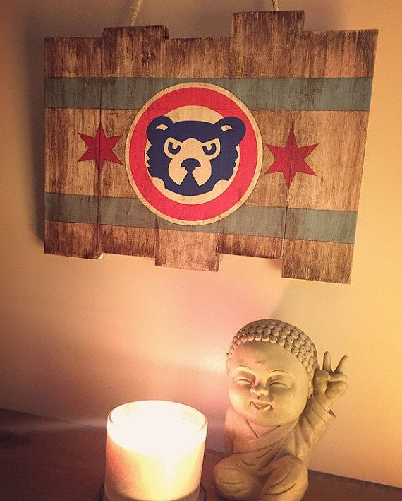 Chicago Cubs Small Wooden Stained Flag by DiamondEyesChicago