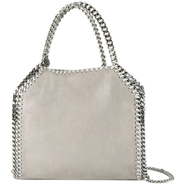 Stella McCartney mini Falabella tote (29,675 THB) ❤ liked on Polyvore featuring bags, handbags, tote bags, grey, grey tote bag, mini tote, leather tote bags, faux leather handbags and leather handbag tote