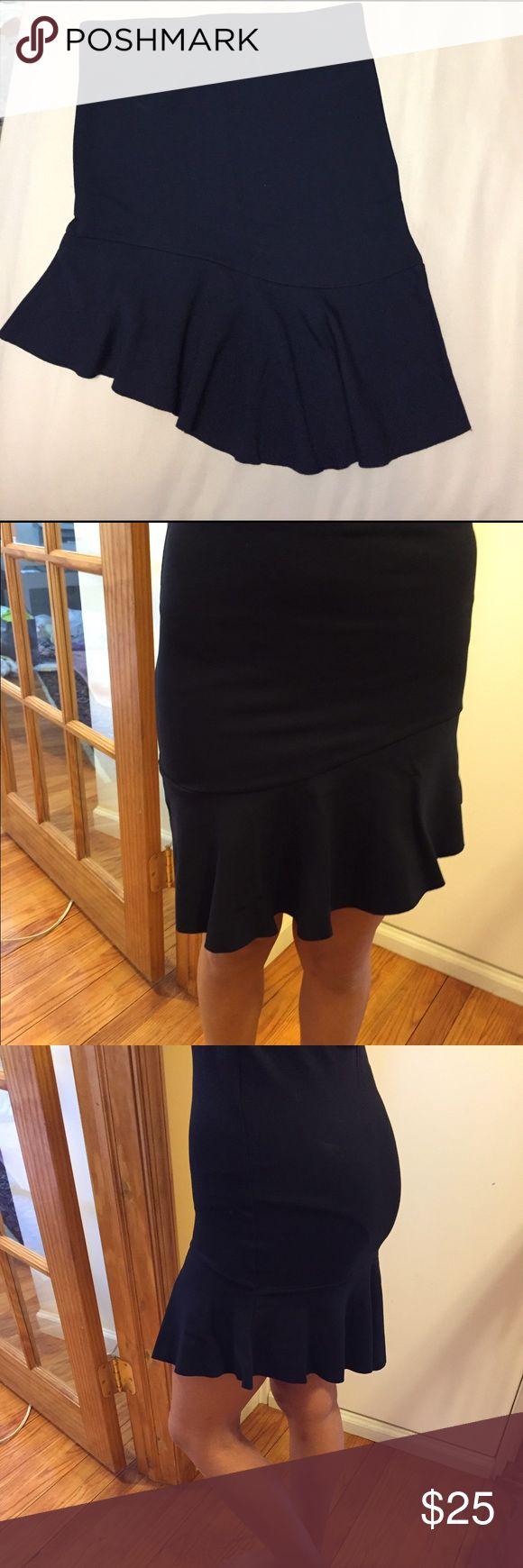 Zara black asymmetrical trumpet skirt. Zara black asymmetrical trumpet style skirt. Stretchy material. Excellent condition. zara collection Skirts Asymmetrical