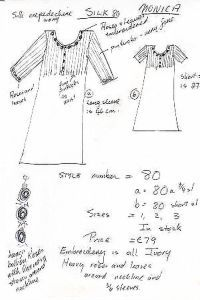 Louise's drawing of silk nightgown Monica