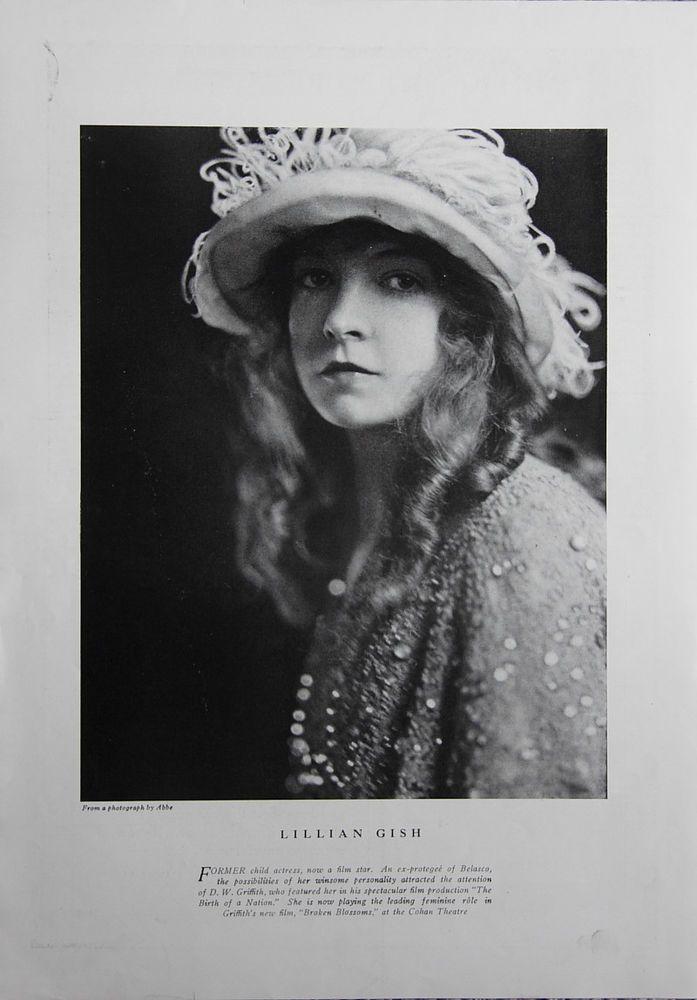 1919 Art Deco Lillian Gish Silent Film Star Theatre Magazine Page Photo by Abbe