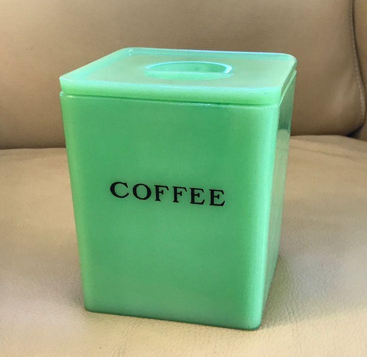 Jeannette Dark Jadeite Green 48 Oz COFFEE Canister Kitchen