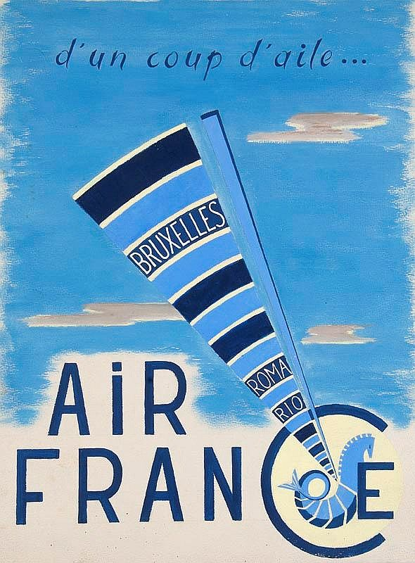Vintage Travel Poster - Air France - D'un coup d'aile...