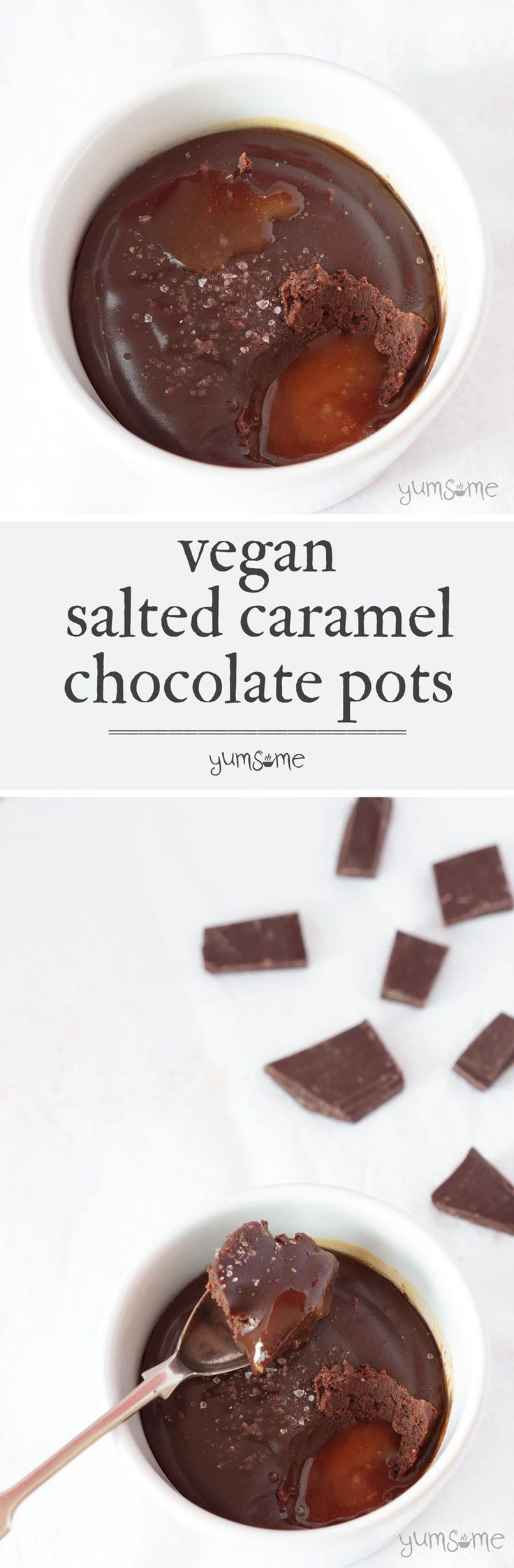 Vegan salted caramel chocolate pots; four ingredients, 10 minutes - all you need to make delicious pots of chocolatey delight! | yumsome.com via @yums0me