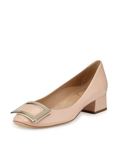 S0CL5 Roger Vivier Belle de Nuit Leather Pump, Beige