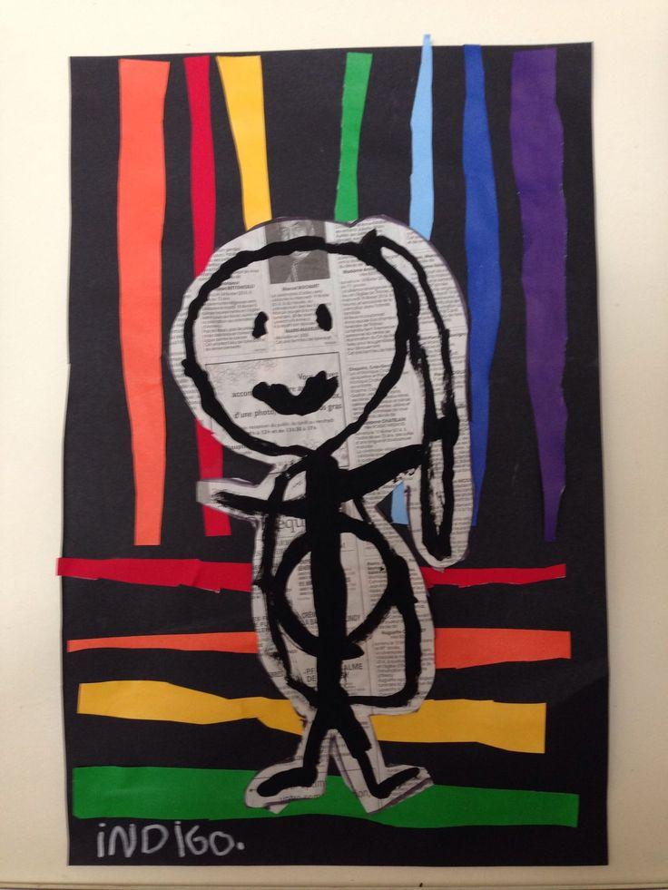collage bandes colorées : découpées ou déchirées, dessin du bonhomme sur papier journal + collage.